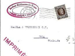 Belgique. TP 196   Imprimé  Liège 1 > Wasa  Finlande  1925 - 1922-1927 Houyoux