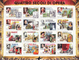 1999 San Marino Opera Music Miniature Sheet Of 16 Complete  VF MNH  @ BELOW FACE VALUE - Muziek
