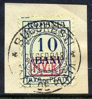 ROMANIA 1918 Postage Due 10 B, Used On Piece...  Michel Porto 2 - Occupazione 1914 – 18
