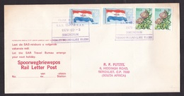 South Africa: Cover, 1979, 4 Stamps, Rail Letter, Advertorial Label Travel Bureau, Station Cancel (minor Discolouring) - Lettres & Documents