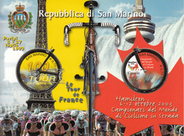 2003 San Marino Cycling Tour De France Canada Niagara Falls Souvenir Sheet Complete  VF MNH  @ BELOW FACE VALUE - Ciclismo