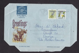 Uganda: Aerogramme To Netherlands, 1972, 2 Stamps, Flower, Ox, Animal, Air Letter (creases) - Oeganda (1962-...)
