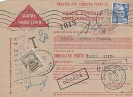 Carte De Rembousement Taxée : Gandon : Decede - Retour A L'envoyeur - Postmark Collection (Covers)