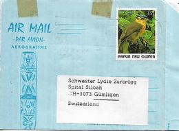 PAPUA NEW GUINEA 1989 AEROGRAMME Sent To Gumligen 1 Stamp BIRD AEROGRAMME USED - Papouasie-Nouvelle-Guinée