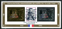 Thème Général De Gaulle - Guyana Yvert 2492/2493 - Neuf Xxx Or Et Argent Dentelé - Surchargé Débarquement - De Gaulle (General)