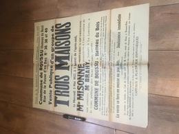 BOUSSU HAMEAU DU BOIS 1937 Vente De 3 Maisons - Affiches