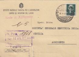 AGRIGENTO  /  Cartolina Di Regime - Istituto Nazionale Fascista  - Firma - Comunicazioni _ Viaggiata 1940 - Agrigento