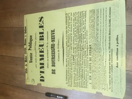 BOURSEIGNE NEUVE 1875 Vente Immeuble Et Corps De Ferme + Cachet Taxe - Affiches