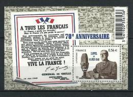 """FR Bloc YT F4493 Feuille """" Appel Du 18 Juin """" 2010 Neuf** - Mint/Hinged"""