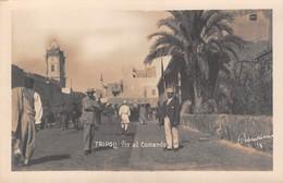 """09064 """"LIBIA - TRIPOLI - VIA DEL COMANDO"""" ANIMATA. FIRMATA. CART NON SPED - Libye"""