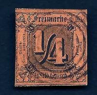 LETI-  TIMBRE ETATS ALLEMAGNE- TOUR ET TAXIS N° 1- 1851-52- 1/4 BRUN - OBLITÉRÉ- 2 SCANS - Tour Et Taxis