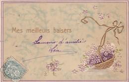 """CARTE FANTAISIE. CPA GAUFRÉE.  """" MES MEILLEURS BAISERS """". CORBEILLE DORÉE ET MYOSOTIS . ANNEE 1905 - Fêtes - Voeux"""