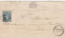 LETTRE.  1870. ISERE. LE TOUVET. GC 4002. BOITE RURALE F =  BARRAUX POUR GRENOBLE    /  2 - 1849-1876: Période Classique