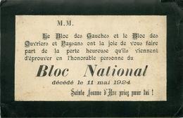 """CARTE TRAC POLITIQUE - 11 MAI 1924 - MORT DU BLOC NATIONAL - """"FAIRE PART"""" De La PERTE HEUREUSE Par Le BLOC DES GAUCHES - Documenti Storici"""