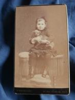 Photo CDV  Bienmuller à Nice  Fillette Souriante Avec Un Chien Dans Les Bras  CA 1890 - L434 - Photographs