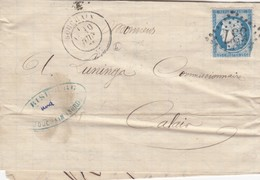 LETTRE.  1875. NORD. BOUCHAIN. GC 537  POUR CALAIS    /  2 - 1849-1876: Periodo Classico