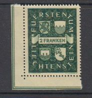 Liechtenstein 1939 Definitive / Landeswappen 1v (corner) ** Mnh  (42181A) - Liechtenstein