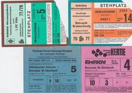 TICKET-VOETBAL-FOOTBALL-LOT-BORUSSIA MONCHENGLADBACH-FRANKFURT+KOLN+BRAUNSCHWEIG+KIC-'70-BON ETAT-VOYEZ LES 2 SCANS-TOP! - Tickets D'entrée