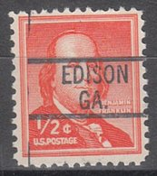 USA Precancel Vorausentwertung Preo, Locals Georgia, Edison 819 - Vereinigte Staaten