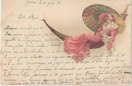 Jeune Femme à L'ombrelle Dans Le Hamac 1901 - Illustrateurs & Photographes