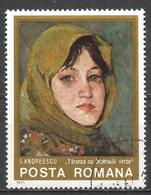 Romania 1975. Scott #2533 (U) Painting By Ion Andreescu (1850-1882), Farm Woman With Green Kerchief *, - 1948-.... Républiques
