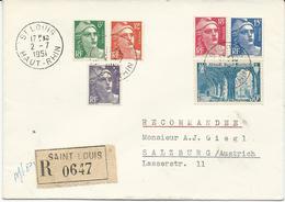 LETTRE RECOMMANDEE POUR L'AUTRICHE 1951 AVEC 6 TIMBRES TYPES GANDON / SAINT WANDRILLE - Postmark Collection (Covers)