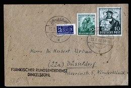 A5962) Bizone Brief Dinkelsbühl 23.06.49 N. Düsseldorf Mi.103, 106 - Bizone