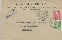 LETTRE 1947 AVEC 2 TIMBRES AUX TYPES CERES DE MAZELIN / GANDON ET CACHET DE SAINT LOUIS - Postmark Collection (Covers)