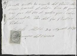 STORIA POSTALE REGNO - UTILIZZO CENT 5 SU RICEVUTA DI PAGAMENTO  24.08.1871 - 1861-78 Victor Emmanuel II.