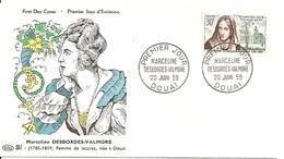 N° 1214 De  1959 - Marceline Desbordes-Valmore  - - 1950-1959