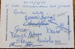 SPITTAL AUSTRIA  29-30/7/1978 CANOA I GARA INTERNAZIONALE JUNIOR CARTOLINA CON GLI AUTOGRAFI DEIPARTECIPANTI ALLA GARA - Francobolli