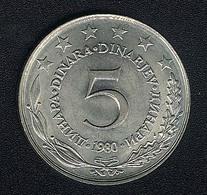 Jugoslawien, 5 Dinara 1980, UNC - Yugoslavia