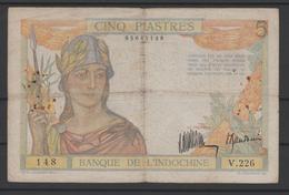 INDOCHINE  BANKNOTE   5$  Pick N° 53    Ref N° 148 - Indochina