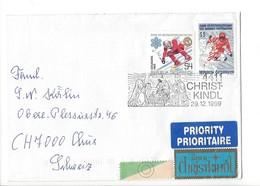 21634 - Austria Christkindl 1999 Lettre Pour Chur  29.12.1999 Skieurs Priority + Vignette über Christkindl - Noël