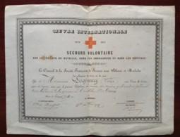 Diplôme Croix De Bronze Oeuvre Internationale . Secours Volontaire Croix-Rouge Guerre De 1870-71 . Dreux . Seigneury . - Documents
