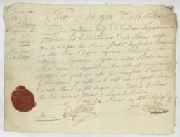 Armée Des Côtes De L'Océan . Doué . Certificat De Bonne Conduite 1er Bataillon De Chartres . Capitaine Seigneury . 1796 - Documents