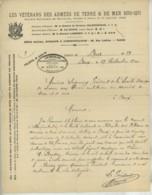 Vétérans Des Armées De Terre & De Mer 1870-1871 . Dreux 1900 . Président De La Société De Secours . Campagne De Chine . - Documents