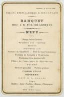 Menu 21 Juin 1880 . Sté Archéologique D'Eure-et-Loir . Banquet Offert à Ferdinand De Lesseps . Chartres . - Menus