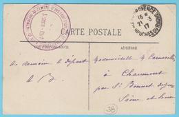 G.B. 01 - CPA Avec Marque De Franchise - N° 38 - Centre D'Instruction 5° Tirailleurs D'Aix (13) - Marcophilie (Lettres)