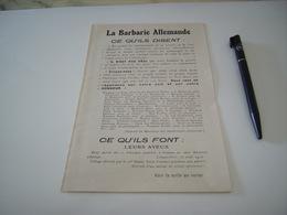 DOCUMENT SUR LA BARBERIE ALLEMANDE ET LA CONVENTION DE LA HAYE 1914 - 1914-18