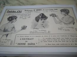 ANCIENNE PUBLICITE LES POSTICHES D ART DES ETABLISSEMENTS B HENRY 1913 - Perfume & Beauty