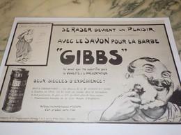 ANCIENNE PUBLICITE SE RASER DEVIENT UN PLAISIR SAVON A BARBE GIBBS 1919 - Perfume & Beauty