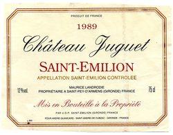 Etiquette (11,9X8,9) Château JUGUET 1989 Saint Emilion  Maurice Landrodie Propriétaire à St Pey D'Armens 33 - Bordeaux