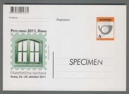 C4455 SLOVENIA Postal Stationery FILATELISTICNA RAZSTAVA KRANJ PETO OKNO 2011 A Postcard Cartolina Postale - Slovenia