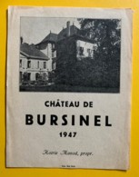 10097- Château De Bursinel 1947 Hoirie Monod Suisse - Etiquettes