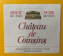 100101- Pinot Noir Château De Coinsins Suisse 2 étiquettes 2 Formats - Etiquettes