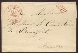 """1836 """"Enveloppe""""  """"Liège"""" - 1830-1849 (Belgique Indépendante)"""