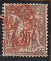 YT 67 Obl 20c Brun-lilas Type I, Oblitération Cachet Rouge Des Imprimés, TTB - 1876-1878 Sage (Type I)