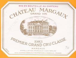 Etiquette Vin Bordeaux Margaux - Château MARGAUX -  Grand Cru Classé - 1983 - Trés Bon état SPECIMEN - Bordeaux
