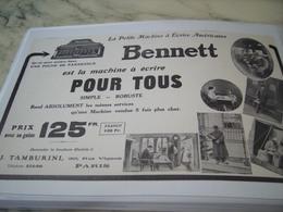 ANCIENNE PUBLICITE LA MACHINE A ECRIRE POUR TOUS BENNETT 1913 - Publicité